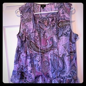 Talbots purple paisley light cotton-tank top PL